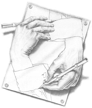 Working hands drawing by Escher